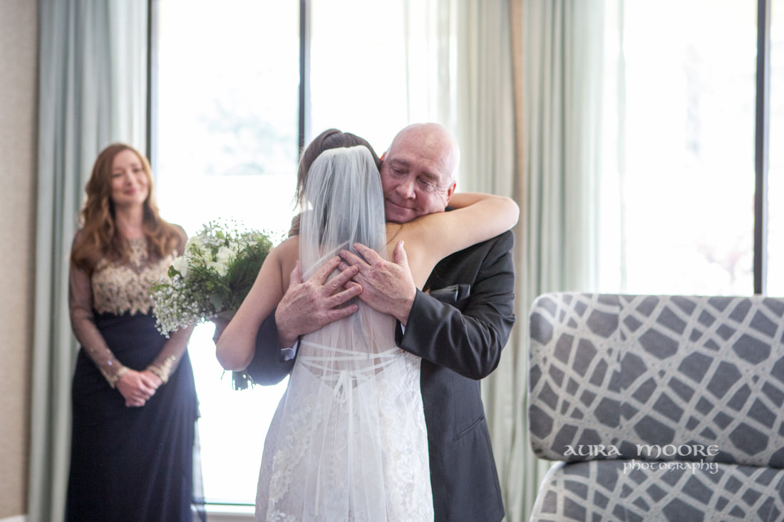 Father Daughter First Look Aura Moore Documentary  Wedding Photographer